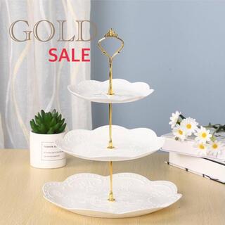 SALE ✴︎大人気✴︎スイーツタワー ホワイト ゴールド ケーキスタンド