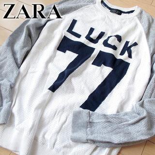 ザラ(ZARA)の超美品 (EUR)L ZARA MAN ザラ メンズ ニット ホワイト(ニット/セーター)