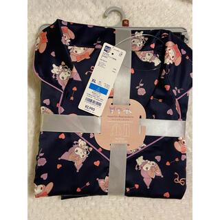 GU - 新品 GU サテンパジャマ ルームウェア クロミ マイメロ サンリオ 紺色 XL