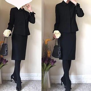 MICHEL KLEIN - 美品!ラピーヌ ミッシェルクラン ブラックフォーマル スーツ M 黒 喪服 礼服
