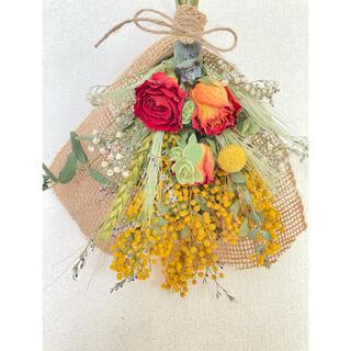 薔薇とミモザのドライフラワースワッグ 花束(ドライフラワー)