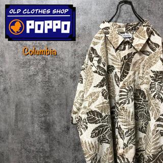 Columbia - コロンビア☆ポケットロゴタグボタニカル柄半袖綿レーヨンビッグ総柄アロハシャツ