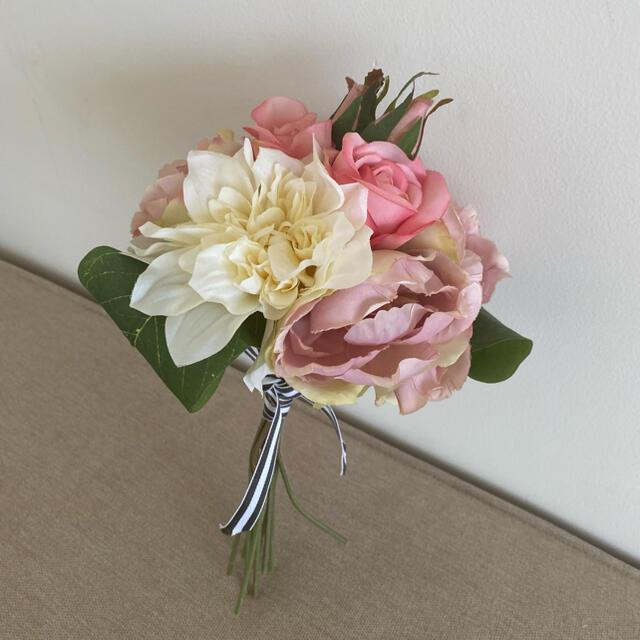 Francfranc(フランフラン)の造花 花束 ピンク 薔薇 ハンドメイドのウェディング(ブーケ)の商品写真
