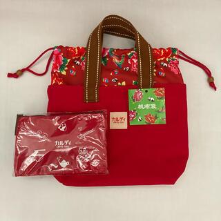 カルディコーヒー 台湾 帆布 トートバッグ 赤 ポーチ セット(トートバッグ)