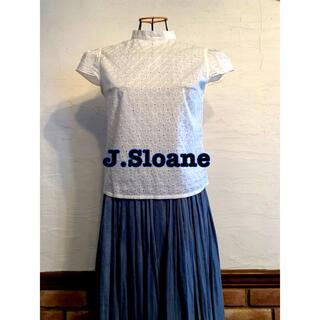 J.Sloane ジェイスローアン コットンレースブラウス 後リボン ホワイト(シャツ/ブラウス(半袖/袖なし))