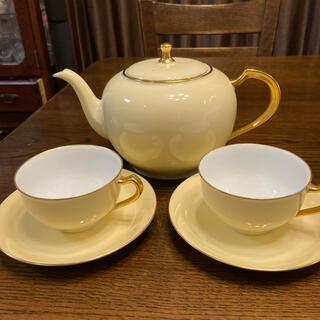 オオクラトウエン(大倉陶園)の大倉陶園 色蒔 ポット カップ&ソーサー2客セット(食器)