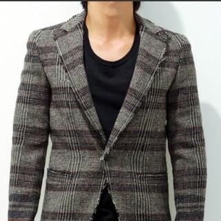 ジュンハシモト(junhashimoto)のジュンハシモト ツィードカッティングテーラードジャケット サイズ2 グレー(テーラードジャケット)