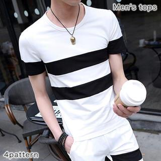 【新品】 Tシャツ 半袖 シャツ ボーダー ホワイト ブラック おしゃれ 夏(Tシャツ/カットソー(半袖/袖なし))