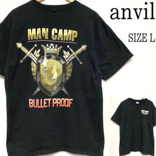 アンビル(Anvil)のUS古着anvil アンヴィル バックプリント Tシャツ ブラック 黒 L(Tシャツ/カットソー(半袖/袖なし))
