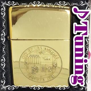 ジッポー(ZIPPO)の№401 ZIPPO ロサンゼルス 真鍮無垢 ジッポー 1994年5月 E X(タバコグッズ)