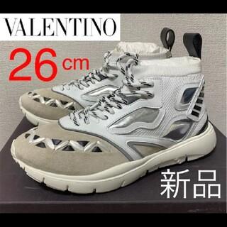 ヴァレンティノ(VALENTINO)の新品未使用❗️Valentino ハイカットスニーカー 26cm ホワイト(スニーカー)