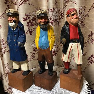 木彫り マドロス人形 3体セット  (船長 海賊 船乗り)(置物)