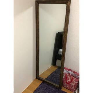 ジャンボミラー アンティーク 姿見鏡 壁掛け ブラウン