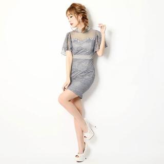 dazzy store - dazzystore総レースフリル袖ハイネックデコルテチュールタイトミニドレス
