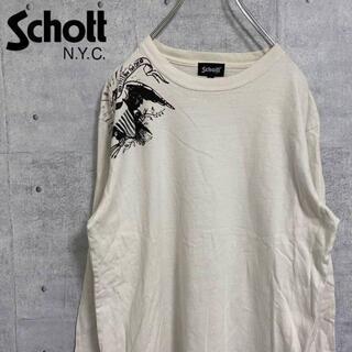 schott - schott ショット プリントTシャツ BIGシルエット  古着 白  L