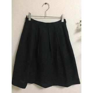 エル(ELLE)のELLE(エル)刺繍 リネン混 スカート 黒 38(ひざ丈スカート)