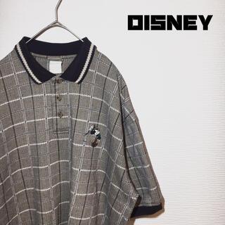 ディズニー(Disney)のディズニー Disney ポロシャツ XL相当 グレー ベージュ ミッキー 希少(ポロシャツ)