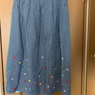 ラフ(rough)のラフ ヒッコリー スカート フリーサイズ お花 手刺繍(ロングスカート)