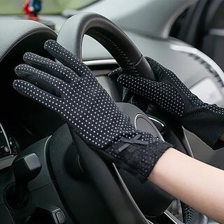 手袋 uvカット 日焼け防止 滑り止め 防菌 コットン 水玉 ブラック