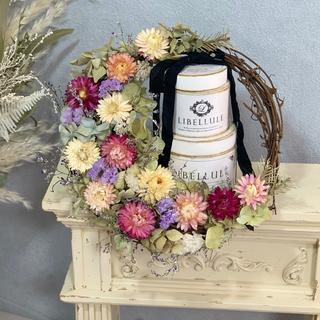 お花いっぱい華やか三日月リース(ドライフラワー)