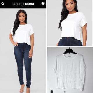 ザラ(ZARA)の新品 fashion nova 白 Tシャツ ラグラン ブラウス(Tシャツ(半袖/袖なし))