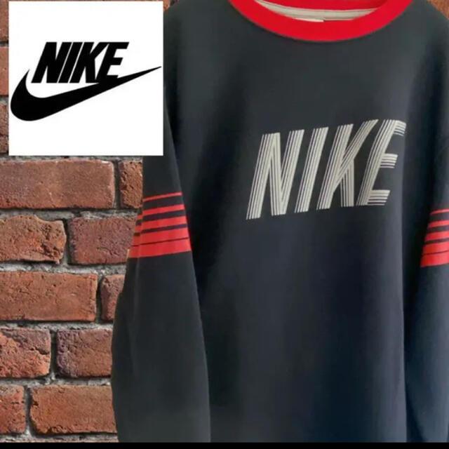 NIKE(ナイキ)の【希少】NIKE ナイキ スウェットトレーナー  L 刺繍ロゴ デカロゴ 古着 メンズのトップス(スウェット)の商品写真