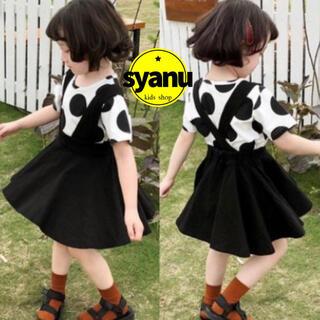 キッズ ドットTシャツ&ジャンパースカート韓国子供服ワンピーススカート(スカート)
