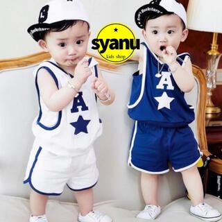 キッズ バスケットセットアップ タンクトップ ショートパンツ 韓国子供服青 白(Tシャツ/カットソー)