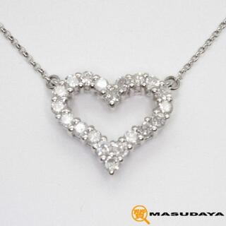 ダイヤモンドハートネックレスPt900/Pt850/D0.50ct【美品】(ネックレス)
