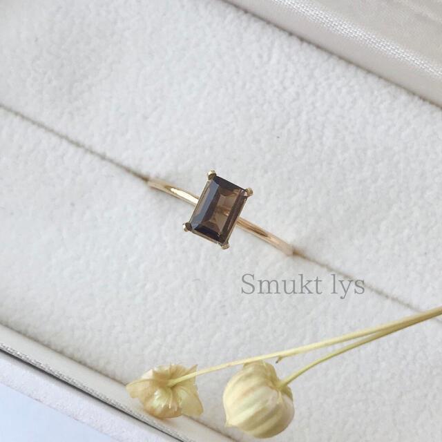 天然石 スモーキークォーツ リング 14kgf ② ハンドメイドのアクセサリー(リング)の商品写真