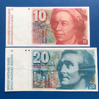 スイス旧紙幣  10シリング/20シリング札2枚セット(貨幣)