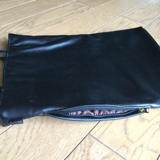 ルートート(ROOTOTE)のROOTOTE ルートート トートバッグ 革風 黒 薄型 縦長 肩掛け 小 美品(トートバッグ)