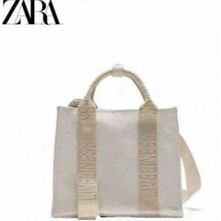 ZARA - 【特壳】【新品未使用】ZARA ロゴストラップ キャンバスミニトートバッグ
