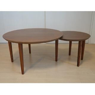 LIVING HOUSE「伸長式69-2枚丸テーブル」(ローテーブル)