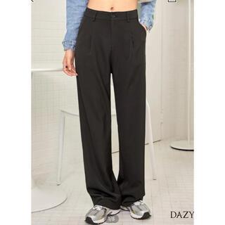 ディーホリック(dholic)の韓国 スラックス ストレートパンツ パンツ ブラック(カジュアルパンツ)