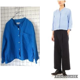 MARGARET HOWELL - 【マーガレットハウエル】リネンシャツ カラーレス バンドカラー  七分袖 ブルー