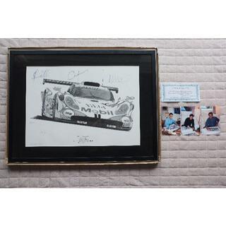 ポルシェ(Porsche)のポルシェ 911 GT-1 ルマン 24時間 リトグラフ サイン 優勝(その他)
