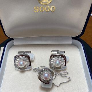 真珠ネクタイピン カウスボタンセット(ネクタイピン)