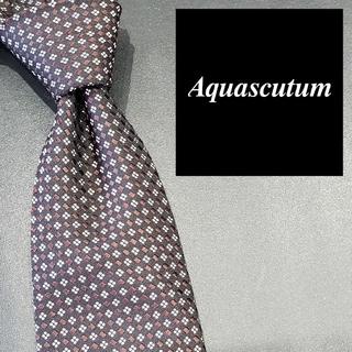 アクアスキュータム(AQUA SCUTUM)のアクアスキュータム ブランド ネクタイ 黒茶白 四角 総柄 メンズ イタリア製(ネクタイ)