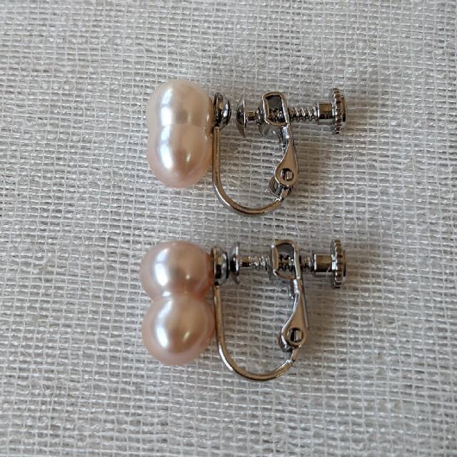 ツインパール 双子パール ピアス  淡水真珠 カジュアル バロック 316L ハンドメイドのアクセサリー(ピアス)の商品写真