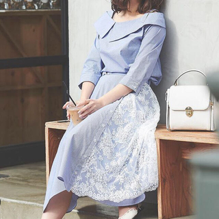 ノエラ(Noela)のノエラ♡アシメカラーシャツ♡レースMIXアシメスカート セットアップ(ロングスカート)