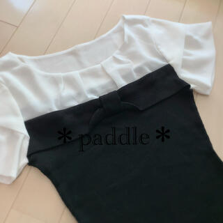 ストロベリーフィールズ(STRAWBERRY-FIELDS)のストロベリーフィールズ 胸リボン切替ブラウストップス(シャツ/ブラウス(半袖/袖なし))