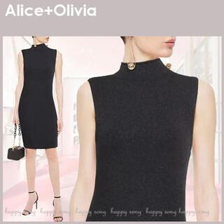 アリスアンドオリビア(Alice+Olivia)のAlice+Olivia メタリックニット ワンピース ドレス 日本未入荷(ミニワンピース)