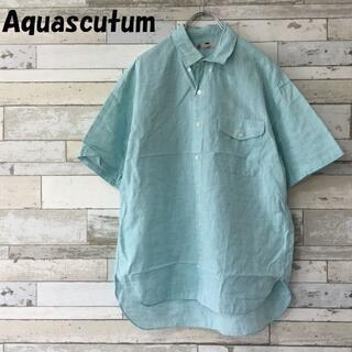 アクアスキュータム(AQUA SCUTUM)の【人気】アクアスキュータム 麻混 半袖ボタンダウンシャツ ライトブルー サイズL(シャツ)