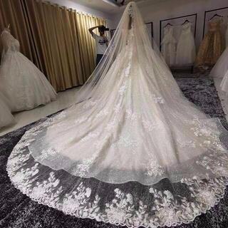 高品質!ウエディングドレスのロングベール3.5メートルの白レースの花嫁/ウエディ(ウェディングドレス)