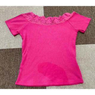 ロイヤルパーティー(ROYAL PARTY)のピンク カットソー(Tシャツ(半袖/袖なし))