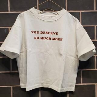 ローリーズファーム(LOWRYS FARM)の新品☆ローリーズファーム 英字 ロゴ 半袖Tシャツ☆100 110 トップス 白(Tシャツ/カットソー)
