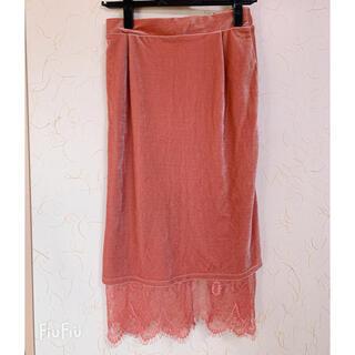 オゾック(OZOC)の新品未使用 オゾック ベロア タイトスカート(ひざ丈スカート)