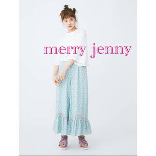 メリージェニー(merry jenny)のmerry jenny flowerきりかえワイドパンツ ブルー(カジュアルパンツ)