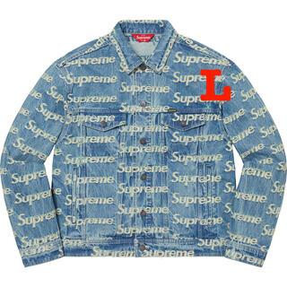 Supreme - Frayed Logos Denim Trucker Jacket Blue L